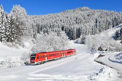 612 012, Wolfsried by Manuel Schmid - Bei Wolfsried zeigte sich die Winterlandschaft ebenfalls von der schönsten Seite. Da drückte ich sogar für 612 012 auf den Auslöser...
