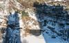 Between the Shadows (20180106-DSC06833) (Michael.Lee.Pics.NYC) Tags: newyork centralpark aerial overhead pond gapstowbridge winter snow ice frozen ducks pedestrians sun shadow hotelwithviiew parklanehotel architecture bridge eastdrive sony a7rm2 fe24105mmf4g centralparkzoo