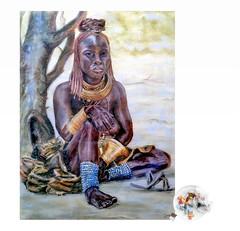 African woman (kunstschieter) Tags: pasteldrawing crayon africanwoman tekening krijt pastel