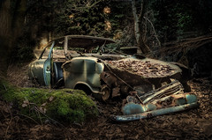 forgotten in the woods (Der Hamlet) Tags: wald forest wood opelkadettb rusty verrostet carwreck autowrack abgestellt parked abandon verlassen decay marode lostplace hiddenplace