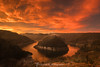Today's Dawn: Fire in the Sky (Sònia CM) Tags: sky sunrise red morning morninglight clouds cloudy esfujifilmx river fuji fujifilm fujinon xt2 fujixt2 1024 fujinon1024 landscape longexposure largaexposicion llargaexposicio catalunya catalonia