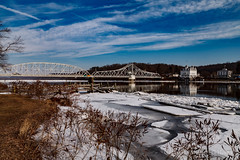Connecticut River at East Haddam (mghornak) Tags: connecticutriver easthaddamct bridge swingbridge river ice goodspeedoperahouse canon canoneos5dmarkii landscape water sky clouds