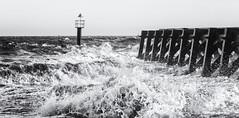 Rough weather at Landguard Point (Sylviane Moss) Tags: felixstowe suffolk uk landguardpoint jetty sea coast waves storm monochrome blackwhite silverefex noirblanc