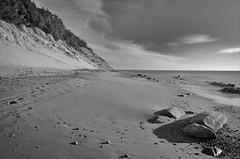 Vanishing Point (dave.fergy) Tags: nik summer beach landscape monochrome water silverefex coast longexposure rocks blackandwhite mono