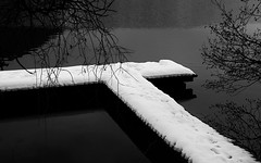 on a grey winter day... (ibo.h) Tags: dark grey winter lake cold jetty