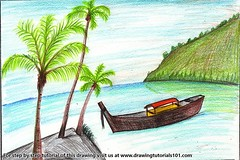 Boat on the Beach Scene (drawingtutorials101.com) Tags: boat beach boating scene landscape with nature natural scenery sketching sketch sketches draw drawing drawings color colors coloring pencil how speed