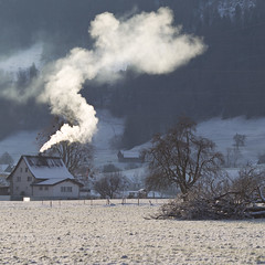 Winterwärme (zeh.hah.es.) Tags: linthebene ktschwyz schweiz switzerland haus house rauch vapour heizung heating winter schnee snow berge mountains feld acre baum tree