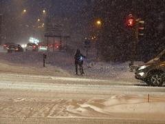 2018 Bike 180: Day 31, February 8 (olmofin) Tags: 2018bike180 finland espoo otaniemi tapiola lumi cyclist lights blizzrd snow myräkkä dawn aamu morning hämärä lumimyräkkä aamuhämärä path shared pyörätie mzuiko 45mm f18 traffic street katu