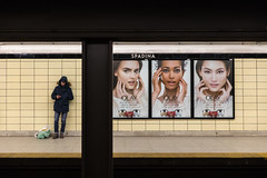 Ladies' Room (cookedphotos) Tags: 2018inpictures toronto ontario canada canon 5dmarkiv streetphotography ttc spadina subway station man woman women models advertisement poster olay faces beauty 365project p3652018