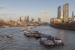 Looking East from Waterloo Bridge (Katy/BlueyBirdy) Tags: stpaulscathedral cityoflondon oneblackfriars southbanktower london riverthames boats thecheesegrater walkietalkie skyline oxotower theshard 240blackfriarsroad