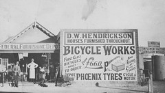 Hendrickson's Store - postcard (fairyduff) Tags: balaklava hendrickson store vintage historic emporium furnishing bicycles phonographs sales postcard publicity promotion advertising sign signwriting middleton wagon records staff pounds pence shilling prices phoenix tyres