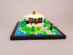 Micro Tropic House MOC front (betweenbrickwalls) Tags: lego afol microscale island tropical vacation house nature vignette bignette creation building challenge contest swebrick roof