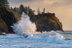 Crash (pdxsafariguy) Tags: capedisappointment pacific ocean sunset waves lighthouse ilwaco washington usa navigation trees sea coast coastline water landscape beacon cliff tower cape surf wave guidance building pacificnorthwest storm powerful dangerous tomschwabel