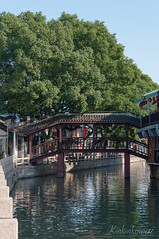 wooden bridge in Zhujiajiao (luriya.chinwan) Tags: asia china chinese shanghai zhujiajiao ancient asian bridge canal cross destination local old peaceful style tourism town tree water wood