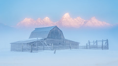 Moulton Barn (adovision) Tags: grand tetons moulton barn mormon winter fog inversion clouds hoar frost