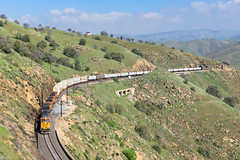 BNSF 5497 @ Rowen, CA (Mathieu Tremblay) Tags: keene california unitedstates us rowen tehachapipass up unionpacific mojave subdivision tunnel bnsf railroad burlingtonnorthernsantafe railway chemindefer spring printemps train locomotive ge generalelectric c449w h2 5497 intermodal tofc cofc sony a77 sal1650