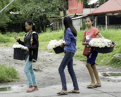 Flower Girls (Beegee49) Tags: street filipina flower sellers carrying bowls bacolod city philippines flowers