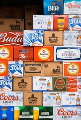 Beer (Karen_Chappell) Tags: beer box product alcohol nfld newfoundland stjohns downtown red blue brown boxes cartons orange multicoloured colourful