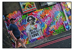 STREET ART by MR.SLY & CHRIS RIGGS (StockCarPete) Tags: mrsly chrisriggs streetart johnlennon londonstreetart camdenart baseballcap shorts oldgeezerinshorts cold camden london uk beatle johnwinstonlennon colours heart chain redlines palecoldskin
