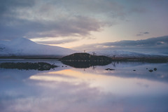 Loch Tulla. (Matthieu Robinet) Tags: a72 alpha folk glen highlands landscape loch outdoor outlander roadtrip scotland somewhere sonya7ii travel uk wanderlust winter winterscape lake rannochmoor nature sunset purple soft colorful evening cold frozen delight exploring nobody only alone explored sky escape space others wide wilderness pure purity zen quiet calm mountainside relief curves blue black mountain