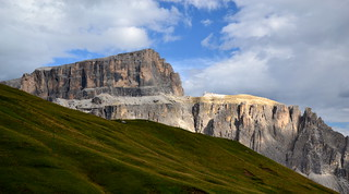 A spot of sunlight on a Dolomites cliff