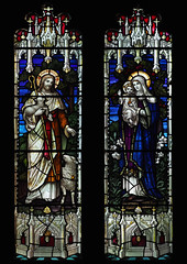 Christ Shepherd & Madonna and Child (badger_beard) Tags: church stained glass cottered herts hertfordshire east vitrail parish rural country st john baptist