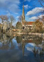 All Saints Church, Sherbourne, Warwickshire. 30 January 2018 (ricsrailpics) Tags: uk warwickshire sherbourne parishchurch allsaints spire waterreflection 2018