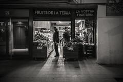Fruits of the land...... (Dafydd Penguin) Tags: night shots after dark street candid scene raw people shop shopping fruits land open all hours blackandwhite blackwhite black white monochrome mono noir barceloneta barcelona catalunya catalonia spain espania leica m10 summicron 35mm f2 asph