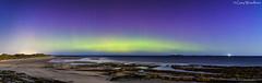 Moonlit Shore - Aurora Borealis, Seahouses (Gary Woodburn) Tags: aurora borealis seahouses night sky northern lights stars starry beach shore bamburgh castle northumberland canon 6d samyang 24mm