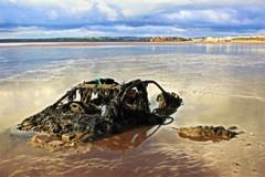 Semi Submerged Skoda (Julie (thanks for 8 million views)) Tags: car submerged duncannonbeach hww hss sliderssunday reflections sand clouds wexford ireland irish canoneos100d shore sea seaweed
