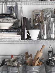Industrial Shelf Storage (Heath & the B.L.T. boys) Tags: ikea kitchen silver bucket storage jars industrial tools