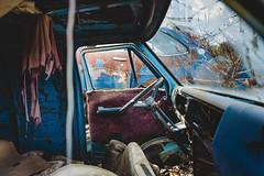 destinations. (jonathancastellino) Tags: series abandoned derelict decay ruin ruins car automotive junk scrap interior wheel steer cabin door leica q screen window ngc truck