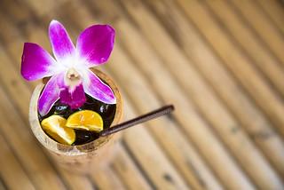Orange Juice in natural bamboo glass.