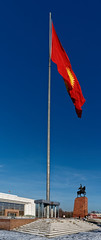 Impressive Flagpole in Ala Too Square, Bishkek. (Malinki_Malinki) Tags: kyrgyzstan flagpole impressive red yellow blue high towering statue museum sky