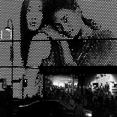 Dec 29, 2017 (pavelkhurlapov) Tags: mosaic tsimshatsui contrast shadows lights crossing shop advertisement mannequins car people lamppost monochrome streetphotography cityscape