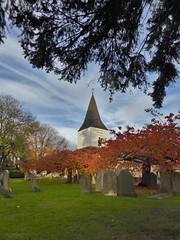Great Bookham Church View (MedievalRocker) Tags: church autumn headstones churchclock belltower spire