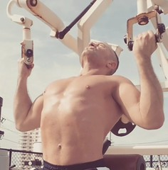 reverse lat pulldowns (ddman_70) Tags: shirtless muscle workout gym pecs abs back pulldowns