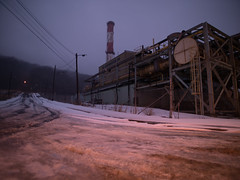 one foggy winter morning (..Lana..) Tags: 105mm manual westvirginia wideangle industrial winter snow road abandoned steelmill