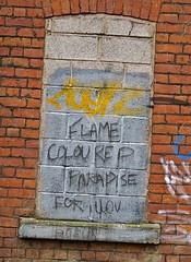 Flame Coloured Paradise, Manchester, UK (Robby Virus) Tags: manchester england uk unitedkingdom britain greatbritain graffiti cement blocks brick wall flame coloured colored paradise you tag