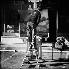 "Painter, Taos, NM (woody lauland) Tags: grayscale monochrome ""blackandwhite"" oggl painting painter artist ""streetphotography"" ""taosnm"" nm ""newmexico"" taos"
