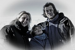 blue 3 (t.horak) Tags: face man woman child boy together blue grey white winter clothes alps mountains black smile three