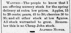 1892 - Alfred Nufer nursery - Enquirer - 8 Apr 1892