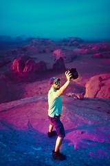 Self Portrait in Another World (Luis Montemayor) Tags: purple selfportrait autorretrato ricardoshuck blue azul morado sunset atardecer monumentvalle arizona usa