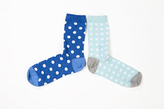 (helenarostunova) Tags: arrangement black blue closeup cutout fashion indoors multicolored nobody pair polkadot series sock spotted studioshot twoobjects white whitebackground background bunch casual clothing heat isolated legs warm
