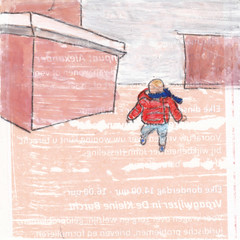 # 252 2018-01-16 (h e r m a n) Tags: herman illustratie tekening 10x10cm tegeltje drawing illustration karton carton cardboard kunst art kind child kid lopen walk rotterdam