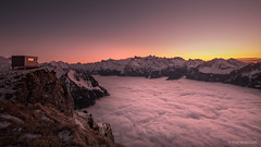 Thankful to be above (reneschaedler) Tags: pilatus luzern lakelucerne vierwaldstättersee evening abend stoos fronalpstock schweizeralpen schweiz switzerland nikon schaedler rene sonnenuntergang nebelmeer dense fog window summit mountains berge skifahren skiing ski clear sky above alpen alps wow winter sunset