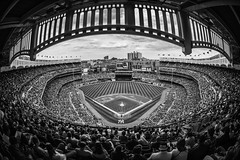 Yankee Stadium in B&W (Brandon Godfrey) Tags: yankeestadium nyc newyorkcity newyork ny fisheye thebronx newyorkyankees mlb blackandwhite monochrome baseball usa unitedstatesofamerica unitedstates