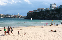 Freshwater Beach and Queenscliff Head (philipbouchard) Tags: beach ocean sand sunshine rocky cliff bluffs freshwater queenscliff head australia sydney newsouthwales nsw pacificocean northernbeaches manly sandstone shore swimming wading water beachside recreation people suburbs waves buildings apartments housing city seaside coast