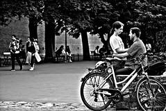 True love (Roi.C) Tags: people man women bicycle street outdoor friendship walking talking krakow poland black white blackwhite blackandwhite monochrome hdr nikkor nikon nikond5300 park bike tree