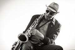 Jazzman on the Promenage des Anglais - Nice - French Riviera - France (Mick LEVY) Tags: jazz music musique jazzman sax saxophone nice frenchriviera france côtedazur hat style tenor nikon